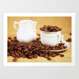 Creamer coffee cup coffee beans kitchen image 2 Art Print