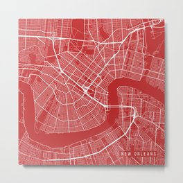 New Orleans Map, USA - Red Metal Print