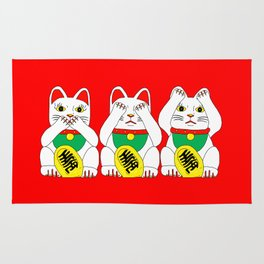 Three Wise Lucky Cats on Red Rug