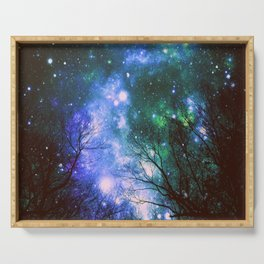 Black Trees Violet Green Space Serving Tray