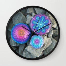 Blue and purple mandala stones Wall Clock