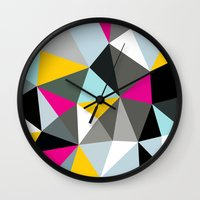 comic book Wall Clocks featuring Comic Book Tris by Beth Thompson