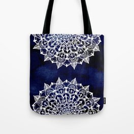 White Lace Medallion on Ink Blue Tote Bag