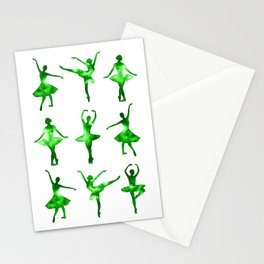 Watercolor Ballerinas (Green) Stationery Cards