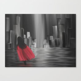 Girl With A Red Cape Canvas Print