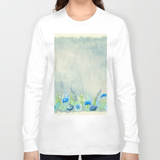 Blue flowers and roses in a meadow- Floral watercolor illustration Long Sleeve T-shirt