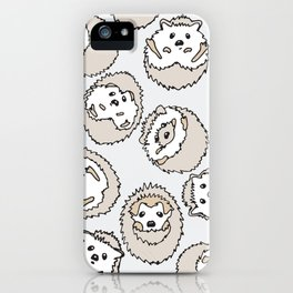 HEDGEHOG PATTERN BEIGE iPhone Case