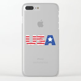 Patriotic USA Flag Stars and Stripes  graphic Clear iPhone Case