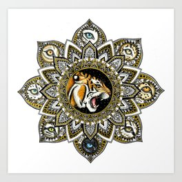 Black and Gold Roaring Tiger Mandala With 8 Cat Eyes Art Print