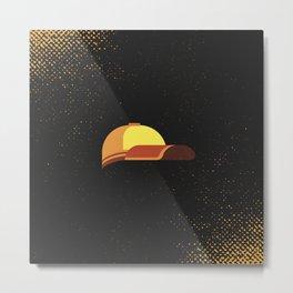 Minimal Retro Cricket Hat Metal Print