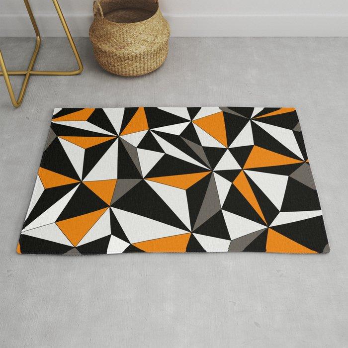 Orange Gray Black And White Rug