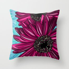 Pink Gerbera on Blue Sorbet Throw Pillow