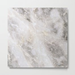 Grey and Gold Marble Metal Print