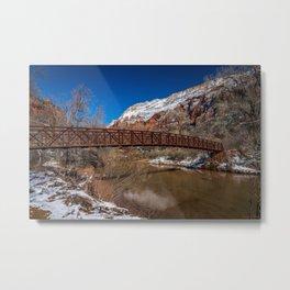 Virgin_River Foot_Bridge - Zion Court Metal Print