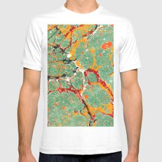 Marbled Green Orange Mens Fitted Tee MEDIUM White
