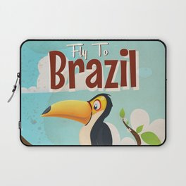 Vintage fly to Brazil Toucan Travel Poster Laptop Sleeve