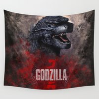 godzilla Wall Tapestries featuring Godzilla by Denda Reloaded