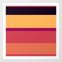 A marvelous pattern of Almost Black, Dark Fuchsia, Brick Red, Light Red Ochre and Pastel Orange stripes. Art Print