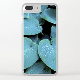 GREEN LEAVES WITH RAIN-DROPS Clear iPhone Case