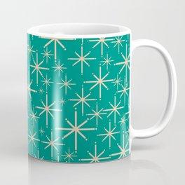 Stella - Retro Atomic Age Starbursts in Midcentury Modern Beige and Turquoise Teal Coffee Mug