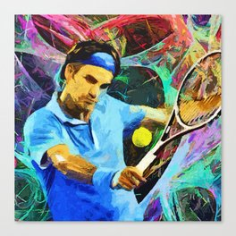 Roger Federer Colorful Canvas Print