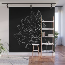 Sunflower Ink Illustration Dark Wall Mural