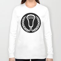 lacrosse Long Sleeve T-shirts featuring Lacrosse Victory Wreath Roundel Black by YouGotThat.com