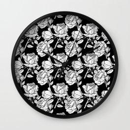 Roses (Black Line) - Black Wall Clock