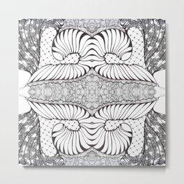 Black and White Zen Doodle Metal Print