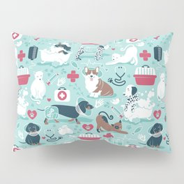 Veterinary medicine, happy and healthy friends // aqua background Pillow Sham