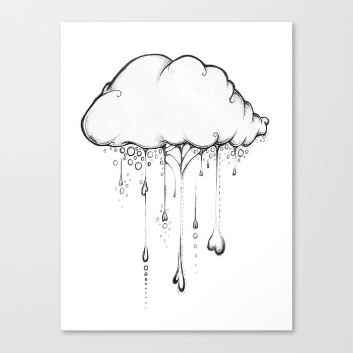 Happy Cloud Drawing Cute Whimsical Illustration Canvas