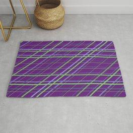 Classic Purple and Green Geometric Criss Cross Lines Rug