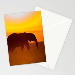 Elephants in the sunset Stationery Cards
