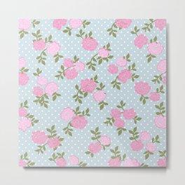Shabby Chic, Polka Dots, Roses - Blue Pink Green Metal Print