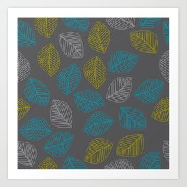 Mid Century Modern Falling Leaves Turquoise Chartreuse Gray Art Print
