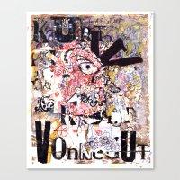 kurt vonnegut Canvas Prints featuring Kurt Vonnegut Portrait by Karl Frey