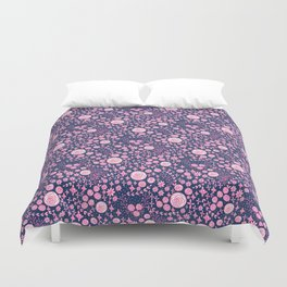 Abstract pink garden pattern in blue marine background Duvet Cover
