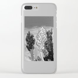 Alpinia purpurata – Red Ginger Flower - Black and White Greyscale Clear iPhone Case