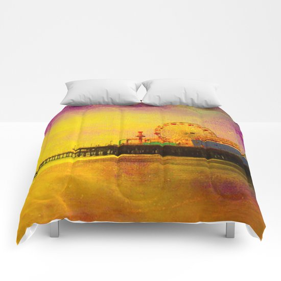 Yellow Purple Santa Monica Pier Comforters