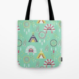 Indian Pattern Mint Tote Bag