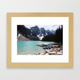 Moraine Lake Canoes Framed Art Print