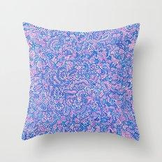 Blue Violet Doodle Throw Pillow