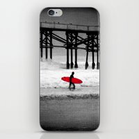 surfboard iPhone & iPod Skins featuring Red Surfboard by Derek Fleener