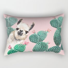 Llama and Cactus Pink Rectangular Pillow