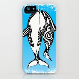 Two Orca Whales Tribal Blue Art iPhone Case