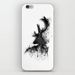 Deer Head Watercolor Silhouette - Black and White iPhone Skin