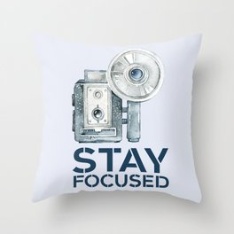 Stay Focused in Watercolor and Typography Throw Pillow