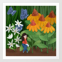 Drawing in he garden Art Print