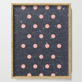 Black Glitter and Pink Polka Dots Serving Tray