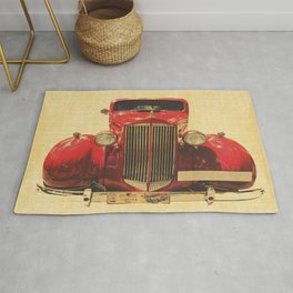 Vintage Cool Red Car Rug